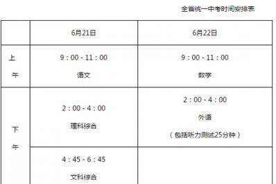 2016石家庄中考考试时间安排表
